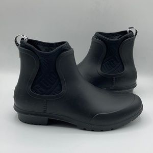 UGG Black Chevone Rubber Ankle Heel Rain Boots
